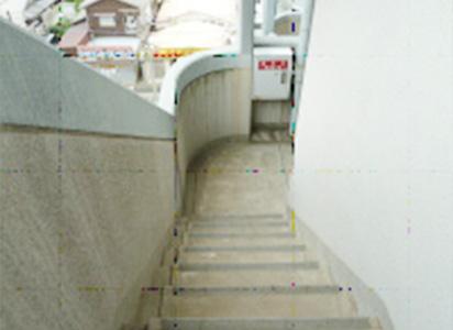 屋外階段手摺クラック